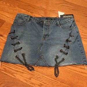 NWT boohoo jean zipper skirt